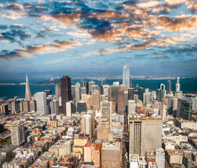 Obraz na Szkle Miasta Aerial view of Downtown San Francisco skyline from helicopter, CA