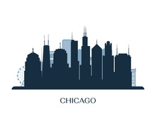 Chicago Skyline, Monochrome Silhouette. Vector Illustration.