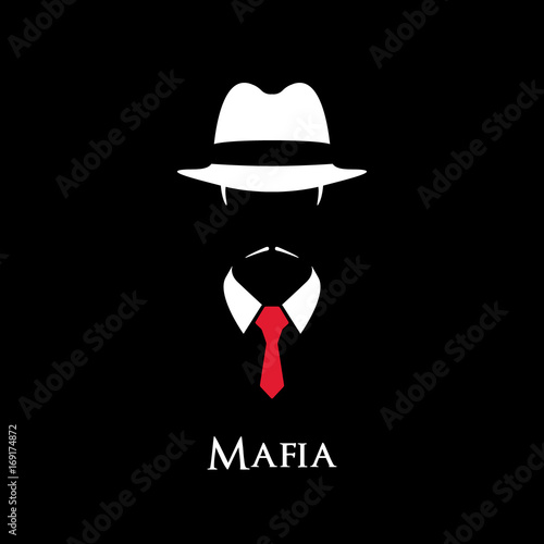Fototapeta White Silhouette of an Italian Mafia with a red tie on a black background