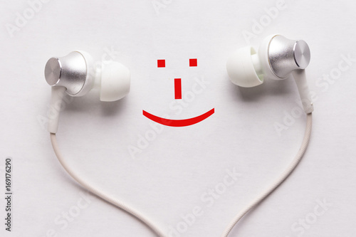 happy smile and headphones Canvas Print