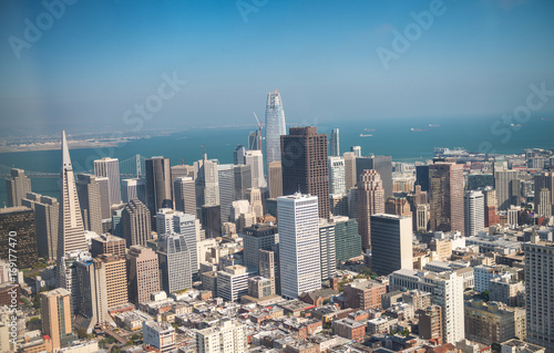 Keuken foto achterwand San Francisco Aerial view of Downtown San Francisco skyline from helicopter, CA