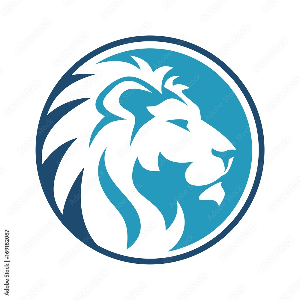 Lion Circle Dark and sky Blue