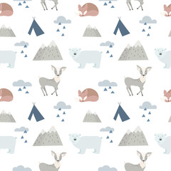 Seamless forest animals bac...