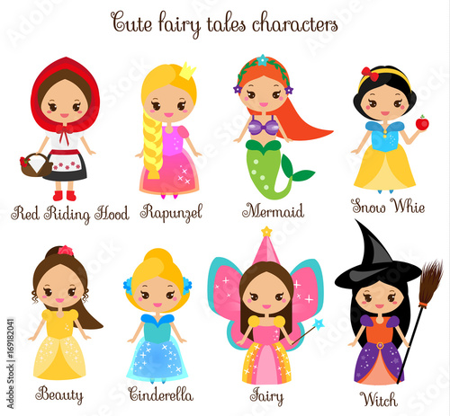 Cute kawaii fairy tales characters. Snow white, red riding hood, rapunzel, cinderella and other princess in beautiful dresses. Cartoon style Fotomurales