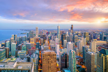 Aerial View Of Chicago Downtown Skyline At Sunset
