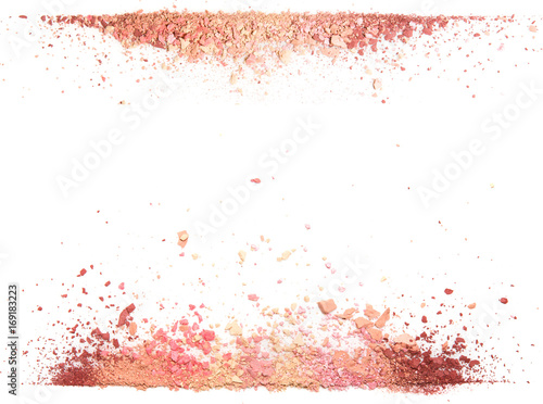 Valokuva  Samples of dry blush, powder, bronzers and highlighter scattered in a line isola