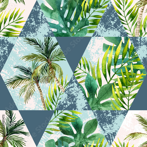 Poster Graphic Prints Watercolor tropical leaves and palm trees in geometric shapes seamless pattern