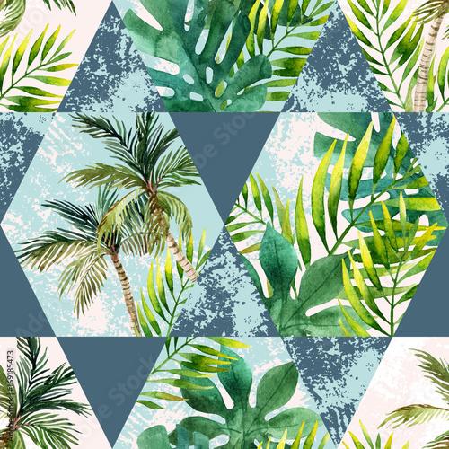 akwareli-tropikalni-liscie-i-drzewka-palmowe-w-geometrycznych-ksztaltow-bezszwowym-wzorze