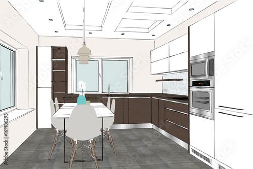 3D rendering. Modern kitchen design in light interior ...