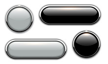 Glossy Buttons With Metallic, Chrome Elements, Black And Grey