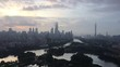 clouds running over cityscape of guangzhou at sunset