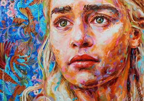 Painting female colorful portrait oil on canvas Poster