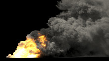 Huge Fire And Smoke On Black