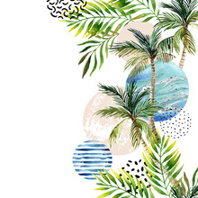 Abstract Summer Tropical Palm ...