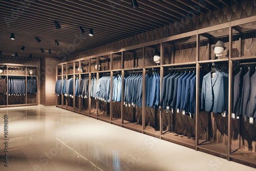 Interior of the business suit shop Fototapeta