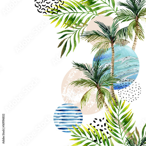 Photo sur Aluminium Empreintes Graphiques Abstract summer tropical palm tree background.