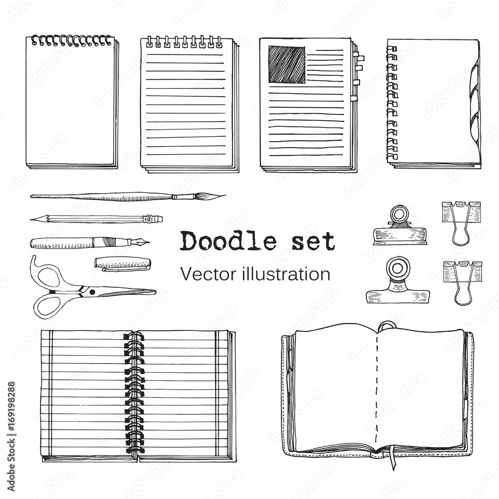 Fototapeta Vector Set of Sketch Notebooks, Notepads and Diaries. Office stuff set. Hand drawing sketch vector illustration. Cool design elements for infographic, web design, background. School