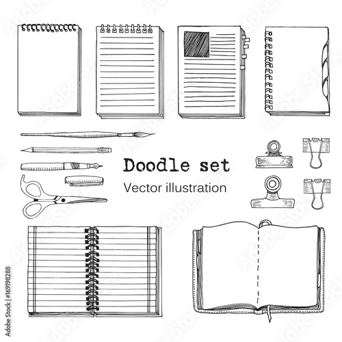 Vector Set of Sketch Notebooks, Notepads and Diaries. Office stuff set. Hand drawing sketch vector illustration. Cool design elements for infographic, web design, background. School Wall mural