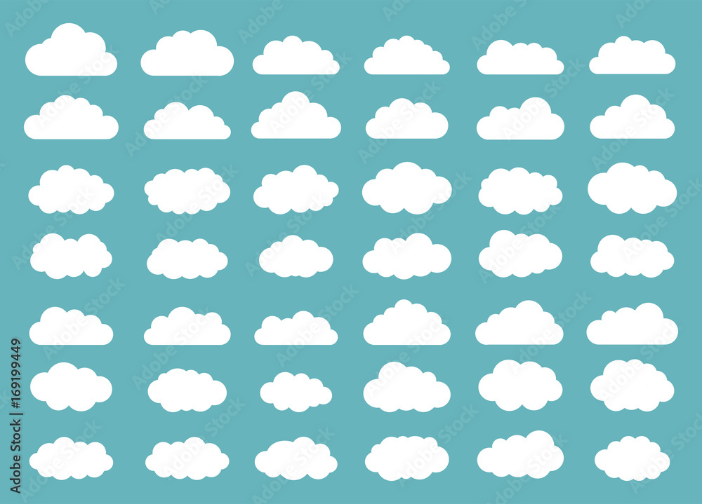 Fototapety, obrazy: Set of clouds. Cloud icon. Vector illustration.
