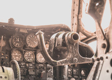 Inside Old Airplane Cockpit With Sunlight In The Morning