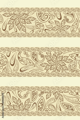 Papiers peints Affiche vintage Abstract vintage pattern with decorative flowers, leaves and Paisley pattern in Oriental style.