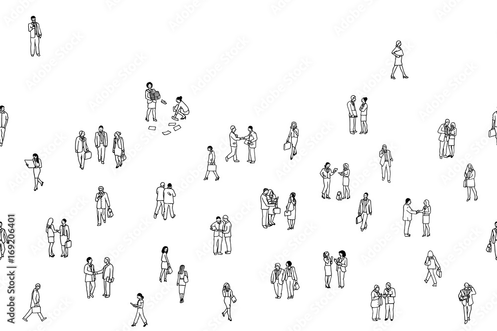 Fototapeta Illustration of tiny businesspeople: a diverse collection of small hand drawn men and women in business suits, small office workers walking through the city, seamless banner, can be tiled horizontally