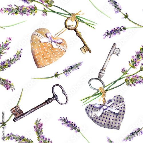francuski-wiejski-tlo-lawenda-kwiaty-rocznikow-klucze-tekstylni-serca-szwu-wiejskiego-stylu-prowansji-akwarela