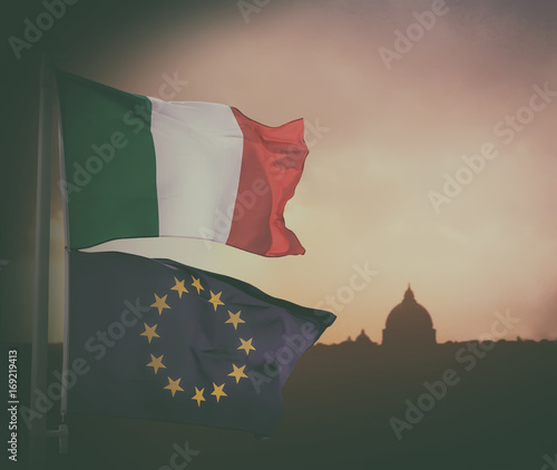 European Union and Italy flag. Wallpaper Mural