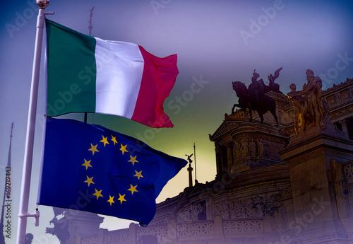 European Union and Italy flag Canvas Print
