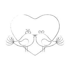 Fototapeta Cute couple of birdies icon vector illustration graphic design