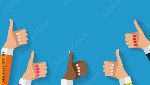 Fotografie, Obraz  Flat Design Thumbs Up Background . Vector Illustration