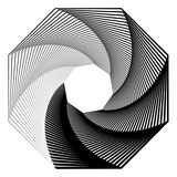 Okrągły motyw geometryczny. Abstrakcyjny element op-art w skali szarości - 169235261