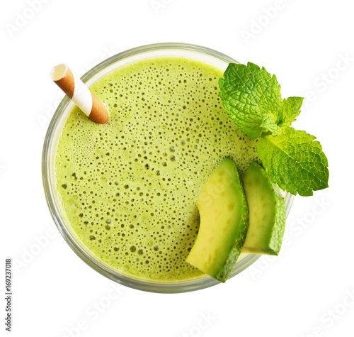Glass of avocado smoothie