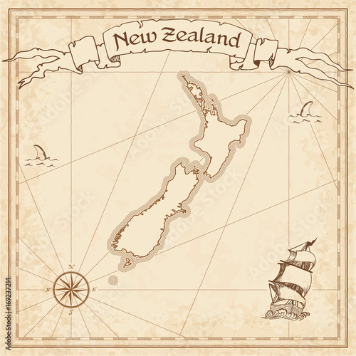 New Zealand old treasure map Canvas Print