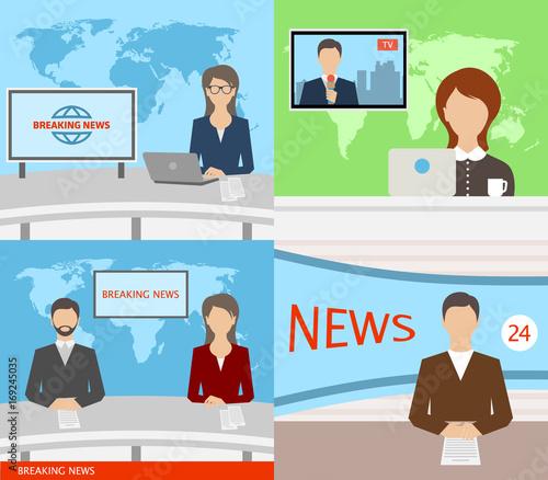 Breaking News TV, Speakers, Reporters, Announcers, Anchormans, Commentators Wallpaper Mural