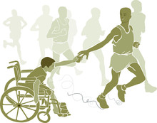Niño Especial Animando A Corredor De Maratón