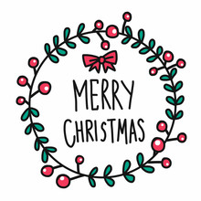 Merry Christmas Word In Cure Flower Wreath Doodle Style Vector Illustration