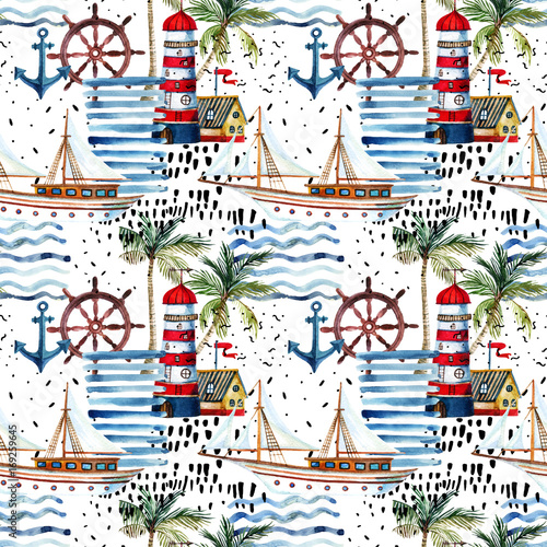 Poster Graphic Prints Summer beach seamless pattern.
