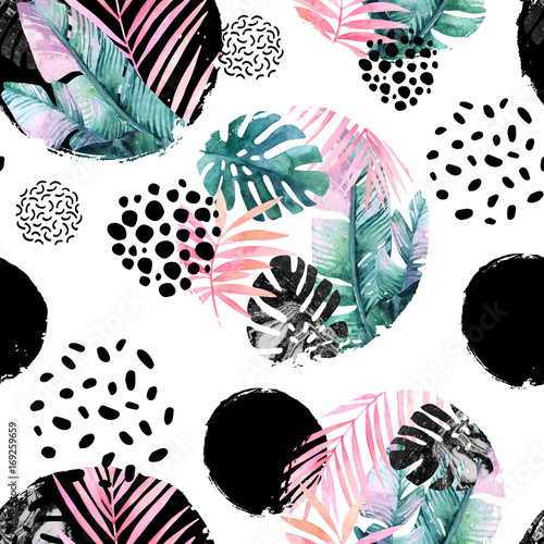 Photo sur Aluminium Aquarelle la Nature Abstract natural seamless pattern inspired by memphis style.
