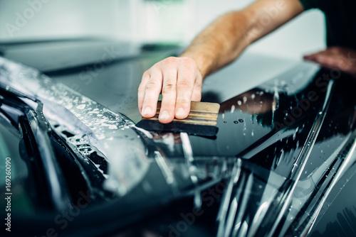 Fotografía  Auto paint protection, transparent film closeup