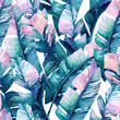 canvas print picture - Watercolor banana leaf seamless pattern.