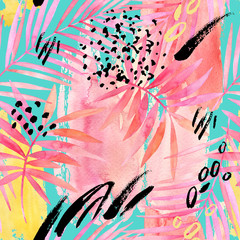 FototapetaWatercolour pink colored palm leaf and graphic elements painting.