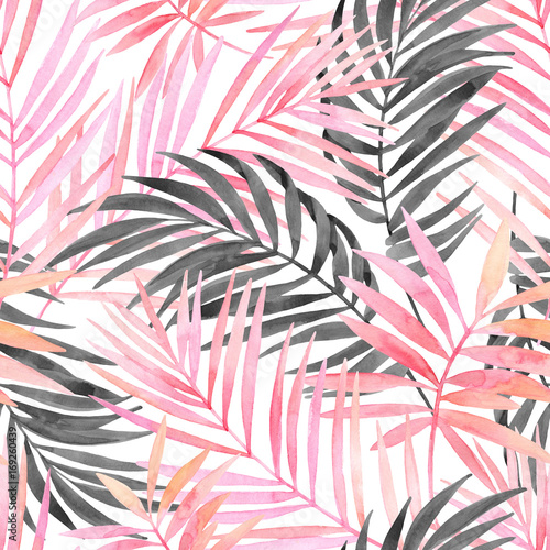 Recess Fitting Watercolor Nature Watercolour pink colored and graphic palm leaf painting.
