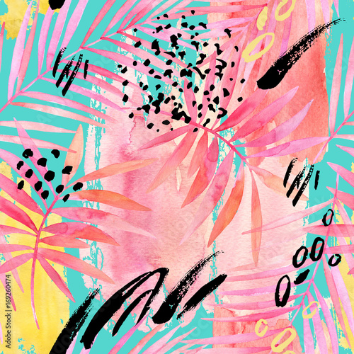 Poster de jardin Aquarelle la Nature Watercolour pink colored palm leaf and graphic elements painting.