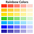 The colors of the rainbow, the color palette of the rainbow