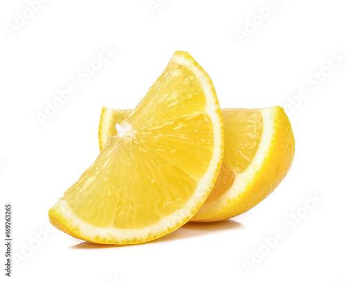 Slice of lemon isolated on white background Poster Mural XXL