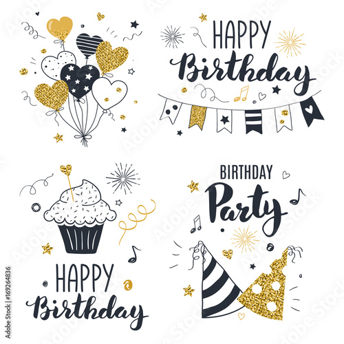 Obraz Set of birthday greeting cards design, black and gold colors, hand drawn style - fototapety do salonu