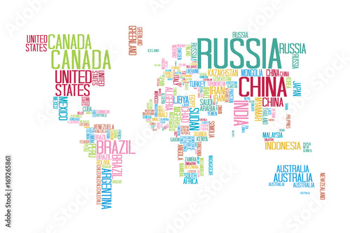 World Map with Countries name Text or Typography with Colorful color ...