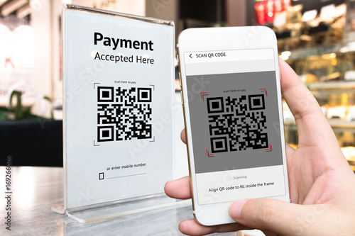 Fotografie, Obraz  Qr code payment , online shopping , cashless technology concept