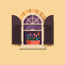 Vector Window With Brown Shutters And Flower Pots On A Brick Wall.Cartoon House Element.